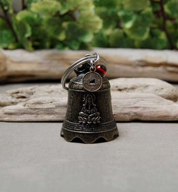 Kwan Yin Bell Keychain With Glass Beads And I Ching Coin - Bell Keychain - Good Luck Key Chain - Free US Shipping