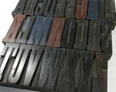 "Vintage Wooden Letterpress Type Blocks YOUR CHOICE 2 5/8"" Wood Letterpress Type Alphabet A-Z Upper Lowercase Decor Assemblage Supplies (R101"