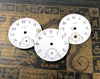 Porcelain Pocket Watch Faces VINTAGE Watch Plates Three (3) Porcelain Watch Faces STEAMPUNK Watch Jewelry Mosaic Assemblage Supplies (Y193)