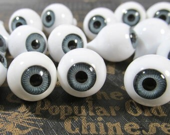 14mm Gray Doll Eyes VINTAGE Plastic EYES Crystal Cut Rimmed Vintage Doll Parts Jewelry Mosaic Altered Art Doll Making Supplies (J99)