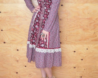 Vintage 70's Burgundy Blue Floral Prairie Peasant Dress Midi Length S