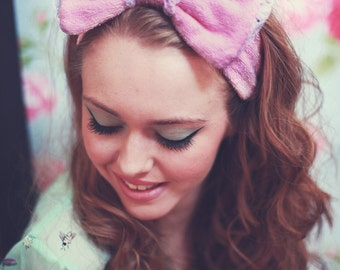 Flannel Bow Headband, Flannel Bow Hair Wrap, Boudoir Make Up Headband, Cosmetic Headband