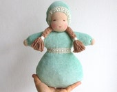 READY TO SHIP, Waldorf doll, organic girl baby doll, 10.5inch, soft, light green, mint green, brown eyed, plush, Christmas gift for girl