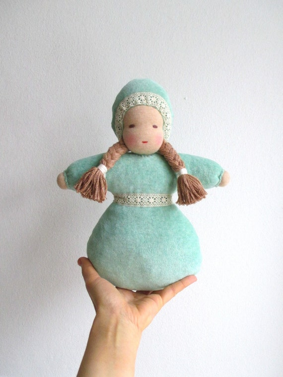 Waldorf doll, organic girl baby doll, 10.5inch, soft, light green, mint green, brown eyed, plush, Christmas gift for girl