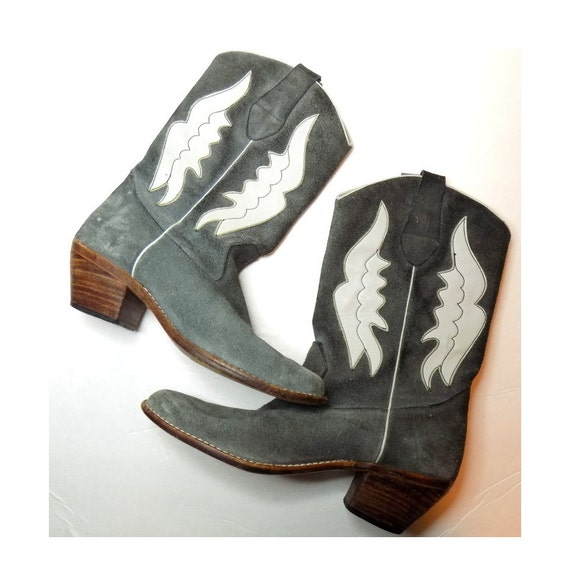 grey suede leather cowboy boots womens size 7 charcoal slate