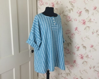 Washable Linen Tunic Dress  Blue Striped Chambray Linen Button Bodice Long Sleeved Tunic Oversized Tunic