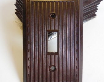 Vintage Light Switch cover Tumbler Plate Bakelite Dark brown Ribbed w/ border Bryant Deco restoration hardware supplies