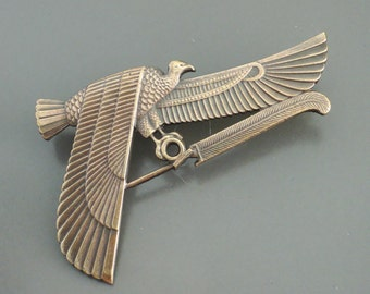 Vintage Brooch - Art Deco Jewelry - Egyptian Jewelry - Egyptian Vulture Bird Brooch - Coat Pin - Art Deco Brooch - handmade jewelry