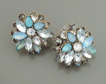 Crystal Earrings - Blue Rhinestone Earrings - Stud Earrings - Antique Gold Earrings - Vintage Wedding Earrings - Upcycle Earrings - handmade