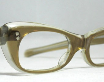 Vintage 60s Honey Brown and Clear Angular Cat Eye Glasses