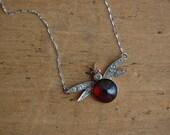 Antique Victorian garnet and diamond insect pendant ∙ Victorian gemstone bug jewelry