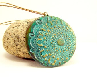 Patina Pendant, Doily Pattern Turquoise and Gold Necklace