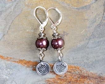 Purple Lotus Earrings, Lavender Pearl Earrings, Purple Pearl Earrings, Flower Earrings, Dangly Earrings,  Handmade Earrings
