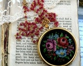 Locket Full of Posies & Rubies, Genuine Facetted Ruby Chain with Vintage Floral Needlepoint Embroidered Locket Necklace, Hollywood Hillbilly
