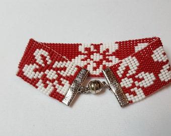 Aloha Red Beaded Cuff Bracelet