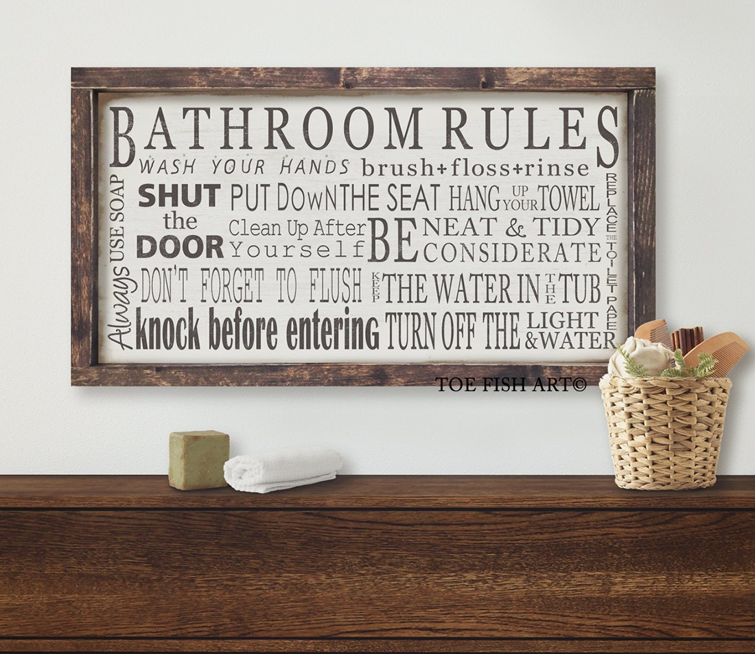 Bathroom Rules Wall Decor : Bathroom rules wall art wood sign washroom decor
