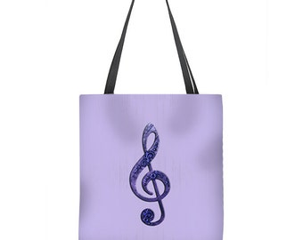Music Tote Bag with violet purple treble clef g clef on lavender, washable and in three sizes, book bag, music bag, beach bag, grocery bag
