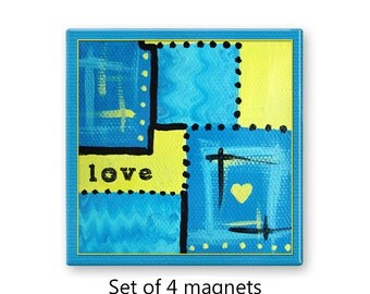 Love magnets, refrigerator magnets, fridge magnet set, abstract art magnets,  set of 4 decorative magnets, kitchen decor, blue and yellow