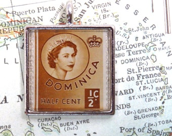 Vintage Brown Dominica Postage Stamp half Cent Postage Necklace Pendant Key Ring