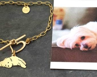 Custom TaGette Charm Chain Bracelet .. Brass Pet Portrait Dog silhouette Jewelry Maltese Memoralize Keepsake, Mothers Day