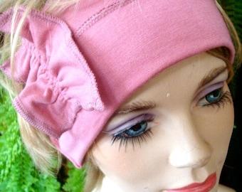 Womens headbands adult hairband pink wide Headband yoga hairband with ruffle bow