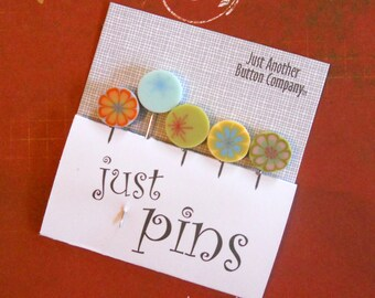 SWEET FLOWER PINS. Stick Pins Perfect for Decorating Ornaments & Pin Cushions.