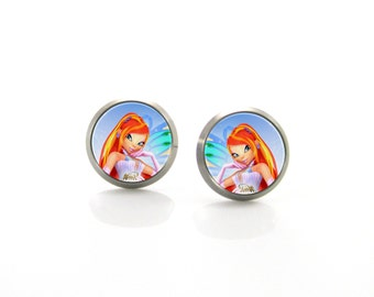Winx Bloom Titanium Post Earrings | Hypoallergenic Sensitive Stud | Titanium Stud Earrings | Funny Girls earrings | Children Earrings