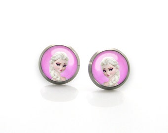 Titanium Earrings Frozen Elsa Posts | Hypoallergenic Sensitive Earring Stud | Girls earrings | Children Titanium earrings for sensitive ears