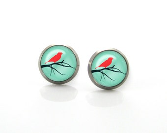 Titanium Earrings Red bird on Tree branch Turquoise | Hypoallergenic Earring Stud | Titanium earrings for sensitive ears