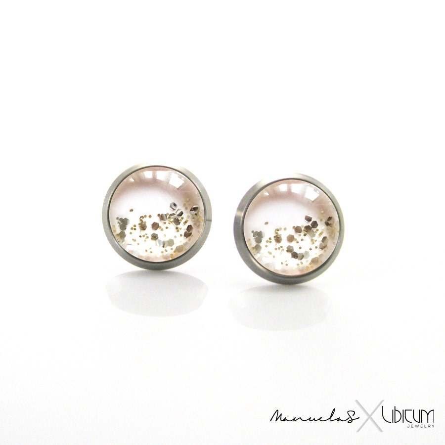 Pure Titanium Jewelry Earrings for sensitive ears Light pink