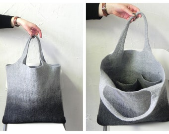 Tote bag, Felted tote bag, Large tote, Wool Bag, Everyday tote bag, Casual tote, Everyday tote, Gray black tote bag, Woman handbag