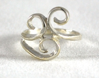 Free-Form Sterling Silver Ring Mother's Ring Birthstone Ring