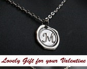 Monogram Necklace, Initial Jewelry, Personalized Necklace, Mens Necklace, Alphabet Pendant Letter Necklace, Wax Seal, Mens Accessories