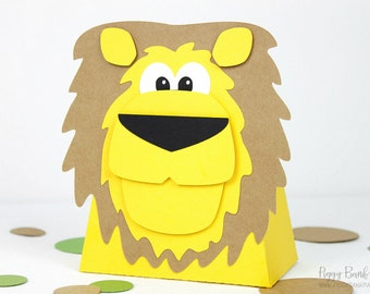 Lion Favor Box : Handcrafted King of the Jungle Party Favor | Safari Gift Box | Zoo Favor | Circus Party Favor | Made to Order