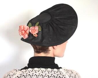 Vintage 1940s Hat // 40s 50s Black Wide Brim Tilt Hat with Flowers // Coral Pink Millinery Roses
