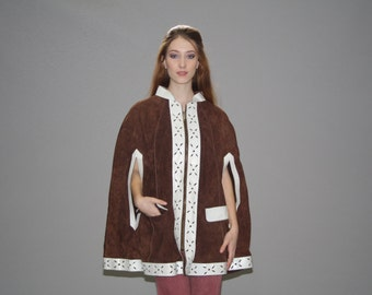 1960s Brown Suede and White Leather Trim  Hippie Cape - Vintage 60s Suede Capes  - Vintage Suede Capes  - WO0584
