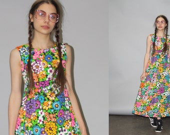 Vintage 1960s Neon Hippie Floral Psychedelic Graphic Festival Maxi Dress - 60s Maxi Dress - Vintage Graphic Dress   - WD0671