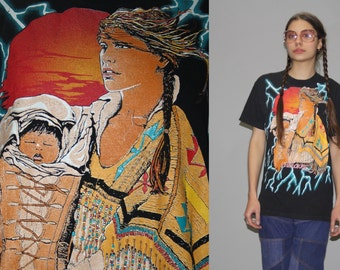 1990s Vintage Tye Dye Cherokee Native American Indian Squaw and Papoose T Shirt - Vintage 90s Oversized Tees  - Wz0617
