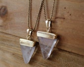 Clear Quartz Triangle Pendant Necklace/ Crystal Quartz Gemstone Necklace/ Triangle Geometric Pendant Necklace/ Summer Fashion (NTG10-CQ)