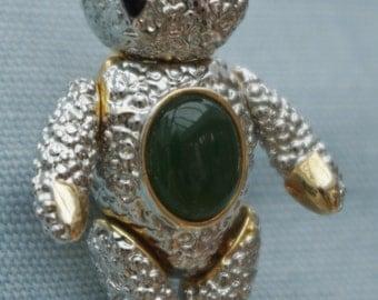 Vintage - Teddy Bear - Fully Articulated - Duel Brooch and Pendant - Jade Stone Tummy & Rhinestones - c1960s