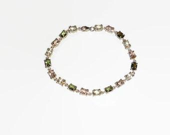 Genuine Moldavite, Morganite and Mexican Feldspar Bracelet 7.5 Inch Sterling Silver .925