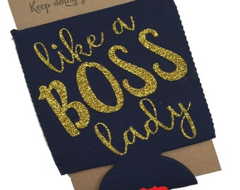 Like a BOSS lady, Momprenuer, Boss, Boss's Day, Gift, Can Holder, Can wrap, Glitter, Girl Boss, WAHM, Mom, Christmas Stocking, Birthday Gift