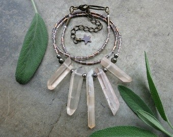 Rough Quartz Crystal Necklace, rustic dainty light peach quartz crystal fan necklace,  pale pink tribal Bohemian jewelry