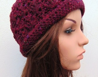 Crochet Hat Burgundy Hat Soft Wool Hat Handmade in Ireland