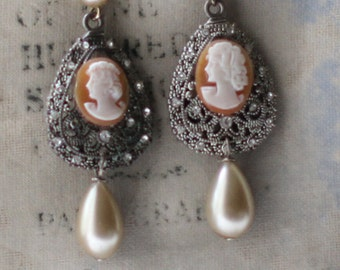 Cameo Ladies~ vintage assemblage earrings shell handmade cameos champagne pearl drops one of a kind crownedbygrace