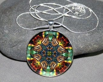 Mandala Pendant Monarch Butterfly Necklace Sacred Geometry Hippie Kaleidoscope Boho Chic Unique Gift For Her Buterfly Lover Celestial Chi