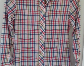 70s ORGANICALLY GROWN by ARPEJA--Plaid Button-Down Shirt--Thin Cotton Voile--Size 5