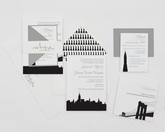 Modern Wedding Invitation, New York Wedding Invitations,Skyline Wedding Invites, NYC Wedding Invites,Any City Wedding Invitations,NYC Invite