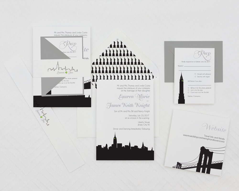 modern wedding invitation new york wedding invitationsskyline wedding invites nyc wedding invites
