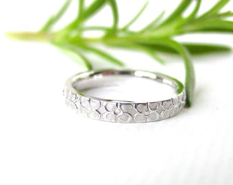 Flower Wedding Band Solid 14k White Gold Size 6